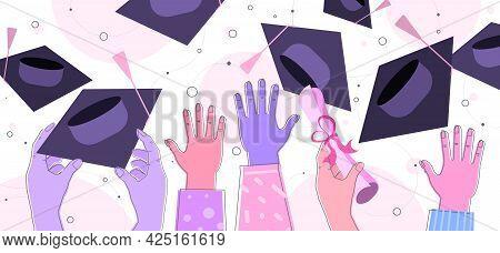 Hands Throwing Hats Graduates Celebrating Academic Diploma Degree Education University Certificate C