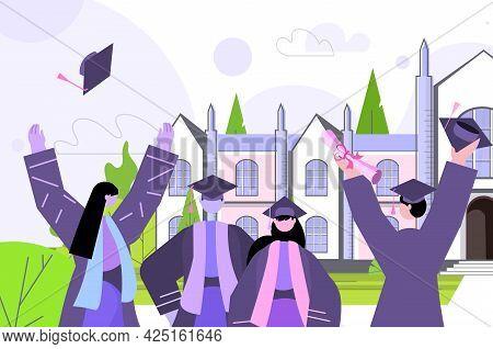 Graduated Students Throwing Hats Near University Building Graduates Celebrating Academic Diploma Deg