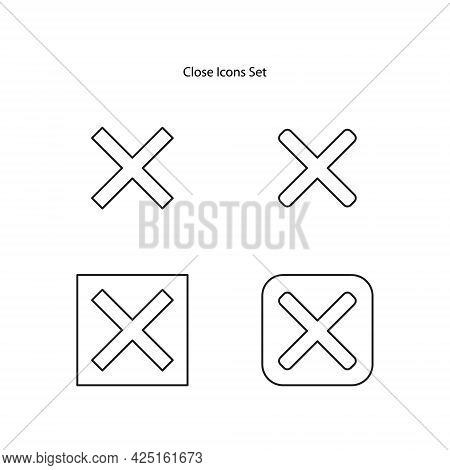 Close Icons Set Isolated On White Background. Close Icon Thin Line Outline Linear Close Symbol For L
