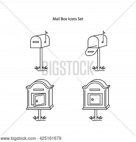 Mailbox Icons Set Isolated On White Background. Mailbox Icon Thin Line Outline Linear Mailbox Symbol