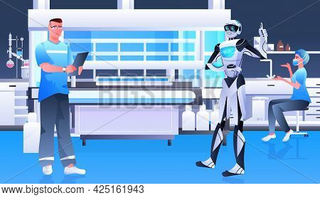 Surgeon With Robot Assistant Analyzing X-ray In Clinic Surgery Room Medicine Healthcare Artificial I