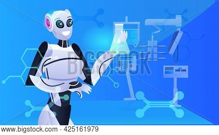 Robot Holding Test Tube With Liquid Robotic Chemist Making Experiments In Lab Genetic Engineering Ar