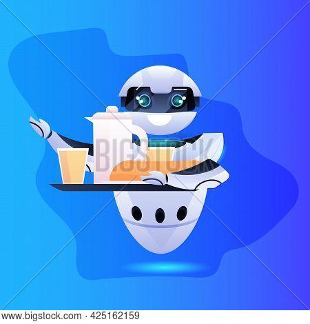 Modern Robot Waiter Serving Food Artificial Intelligence Technology Concept