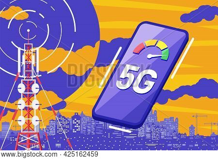 Mobile Smartphone And 5g Communication Tower. Transmission Cellular Tower Antenna. Network Broadcast