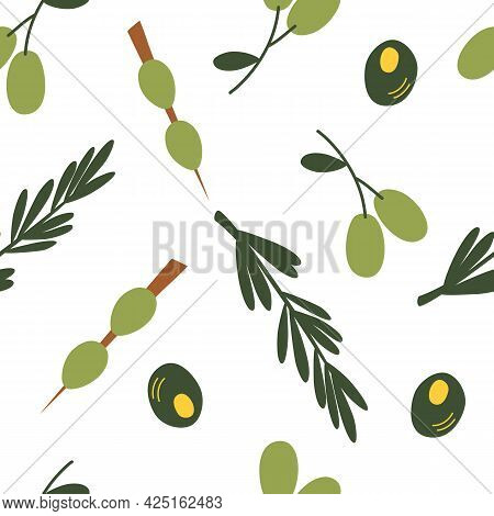 Seamless Pattern With Olives. Colorful Cartoon Green Olives Background. Perfect For Restaurants And