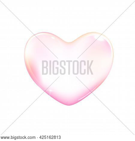 Realistic Transparent Pink Vector Soap Bubble Shaped As Heart. Romantic Glossy Soapy Heart. Valentin