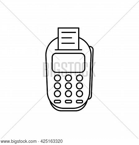 Pos Terminal Black Line Icon. Pay Concept Badge. Credit Card Payment By Debit, Chip Reading Illustra
