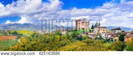 Medieval casstle and village Castello di Grinzane  . one of the most famous vine region of Italy  - Piedmont