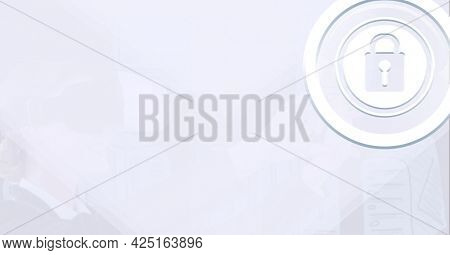 Composition of digital padlock icon with copy space on white background. global digital interface, technology and networking concept digitally generated image.