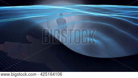 Animation of glowing blue trails of information over businessman. global business, digital interface, technology and networking concept digitally generated video.