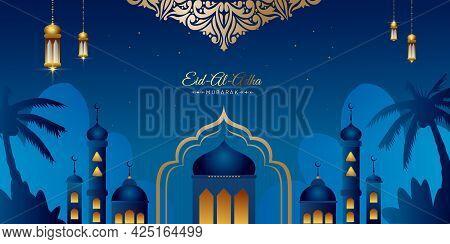 Eid Al Adha Mubarak Greeting Background Vector Illustration, Beautiful Mosque With Arabic Lanterns A