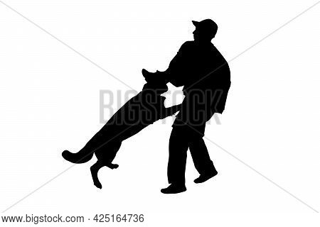Police Dog In Training Black Silhouette On White Background. German Shepherd Aggressive Dog Training