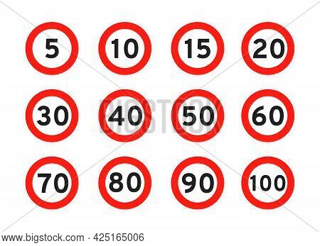 Speed Limit 5, 10, 15, 20, 30, 40, 50, 60, 70, 80, 90, 100 Round Road Traffic Icon Sign Flat Style D