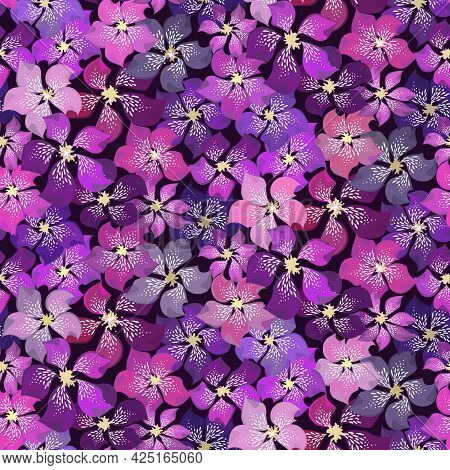 Beautiful Floral Vector Seamless Pattern. Different Brightness Purple Abstract Motley Violet Flowers