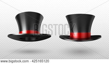 Magician Top Hat, Black Vintage Cylinder Cap With Red Bow And High Crown Front View Isolated On Tran