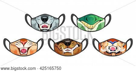 Face Masks With Scary Animal Mouth With Fangs Isolated On White Background. Vector Cartoon Set Of Bl
