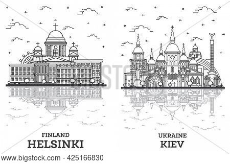 Outline Kiev Ukraine and Helsinki Finland City Skyline Set with Historic Buildings and Reflections Isolated on White. Cityscape with Landmarks.