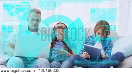 Composition of screen with digital data processing over family using electronic devices. global digital interface, technology and networking concept digitally generated image.