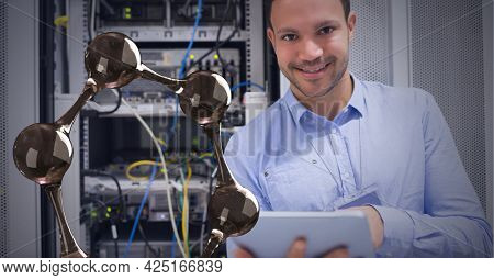 Composition of digital chemical compound over businessman using tablet by computer server. global digital interface, technology and networking concept digitally generated image.