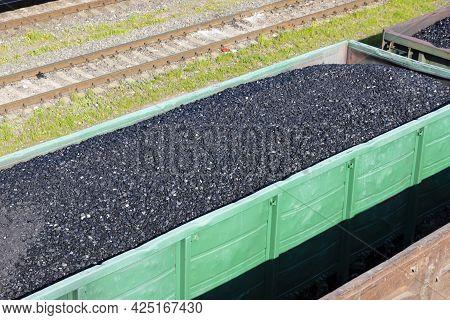 Coal Cars On A Train. Global Warming. Energy Production.