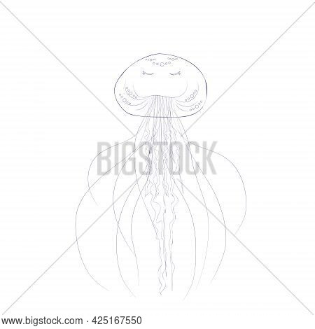 One Jellyfish In The Style Of Line Art, Isolated On A White Background. Marine Inhabitants Of The Un