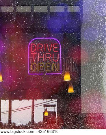 Neon Rainy Window Drive Thru Neon Sign