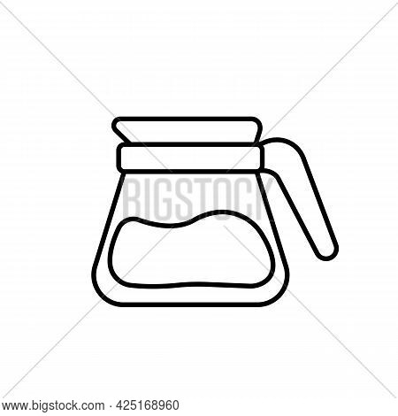 Glass Teapot Or Kettle With Coffee Black Line Icon. Coffee Break. Trendy Flat Isolated Symbol Sign U