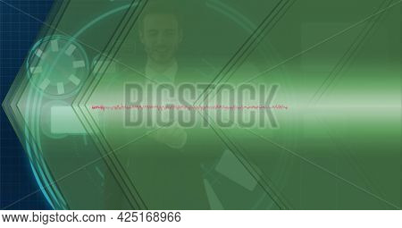 Animation of data processing over businessman touching screen. global business, digital interface, technology and networking concept digitally generated video.