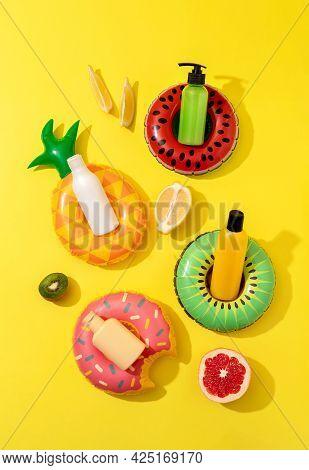 Summer Vacation Cosmetics. Sun Protection Lotion, Sunscreen, Moisturizer. Summer Skin Care Concept.