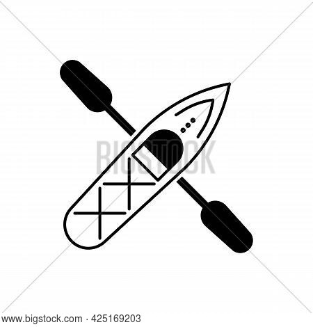 Kayak Boat Or Canoe With A Paddle Simple Black Icon. Summer Sport Concept. Active Lifestyle Or Vacat