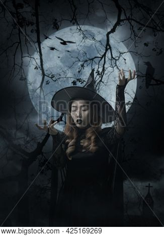 Mystery Halloween Witch Standing Over Cross, Church, Crow, Birds, Dead Tree, Full Moon And Cloudy Sp