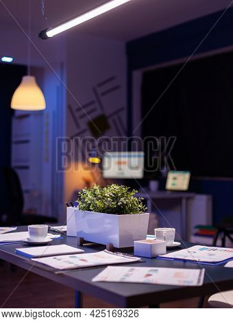 Modern Empty Business Corporate Office Meeting Room Is Ready For Businesspeople Late At Night. In Ba