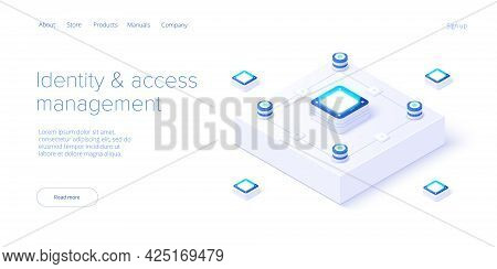 Identity And Access Management Illustration In Isometric Vector Design. Abstract Datacenter Or Block