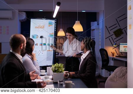 Workaholic Entrepreneur Woman Discussing Management Statistics Overworking In Office Meeting Room La