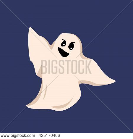 White Ghost On A Blue Background. A Sheet With A Face, Eyes, A Smile And A Grin. Mystical Creature F