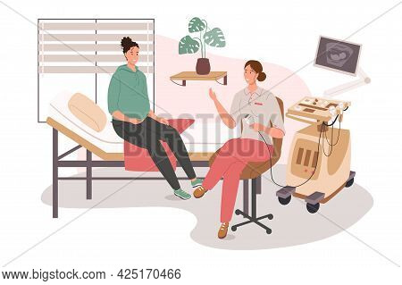 Medical Office Web Concept. Pregnant Woman On Ultrasound. Doctor Examines Patient, Monitoring Prenat