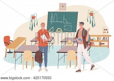 School Web Concept. Students Learns At Math Lesson At Classroom. Teenage Classmates Study In College