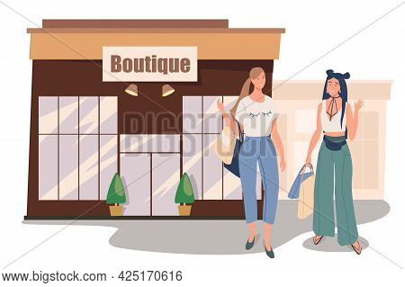 Boutique Shop Building Web Concept. Two Women Buying Stylish Clothes In Store. Girlfriends Meeting A