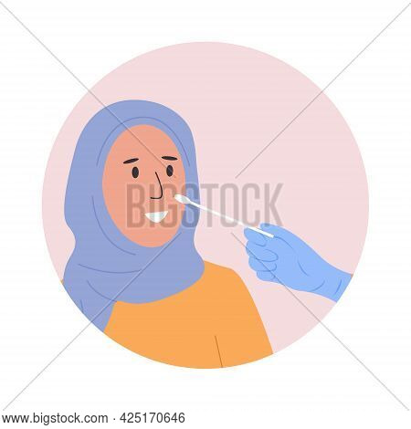 A Doctor Or Nurse In Latex Gloves Takes Nasal Swab Laboratory Sample From Female Patient. Covid-19 P