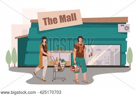 Mall Store Building Web Concept. Customers Shopping In Supermarket, Buying Food, Walking With Carts