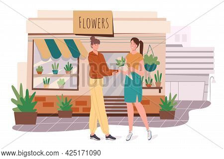Flower Shop Building Web Concept. Woman Buys Flowers At Store. Florist Makes Bouquet Of Blossom Plan
