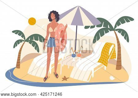Summer Travel Web Concept. Woman Resting On Seashore, Holding Rubber Ring. Young Girl Stands Near Su
