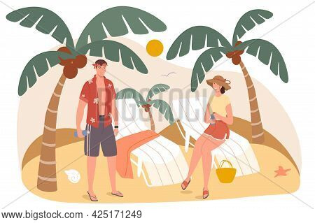 Summer Travel Web Concept. Couple Resting On Seashore. Man And Woman Sunbathing On Sun Loungers Unde