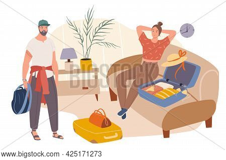 Summer Travel Web Concept. Couple Packing Clothes In Suitcases And Going On Vacation. Man And Woman