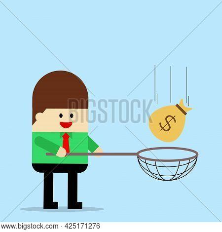 Illustration Vector Design Of Businessman Catching The Money