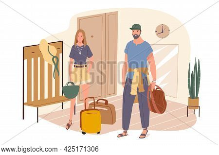 Summer Travel Web Concept. Couple With Suitcases Stand In Hallway And Going On Vacation. Man And Wom