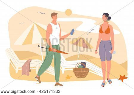 Summer Travel Web Concept. Couple Resting On Beach By Sea. Man Giving Sunscreen To Sunbathing Woman