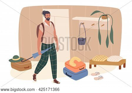 Summer Travel Web Concept. Man With Suitcases Stand In Hallway And Going On Vacation. Traveler Going