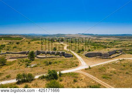 Aerial View Of Ancient Asseria Ruins In Dalmatian Zagora In Croatia