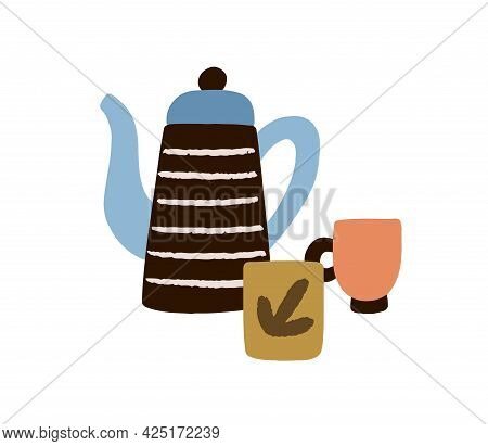 Teapot And Cups. Composition Of Tea Pot With Long Spout And Teacups. Ceramic Kettle And Mugs. Porcel